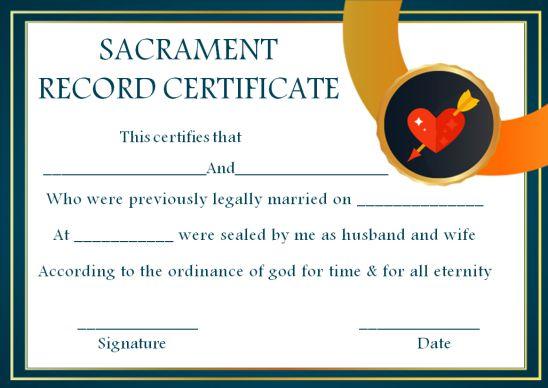 Sacrament Record Certificate