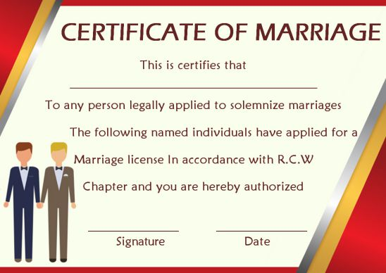 Same Sex Marriage Certificate