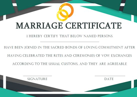 Same Sex Marriage Certificate Template
