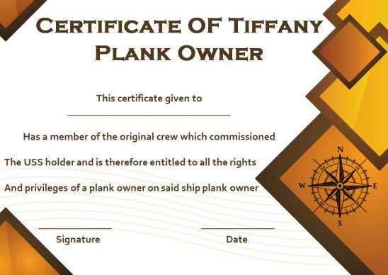 Tiffany Plank Owner Certificate