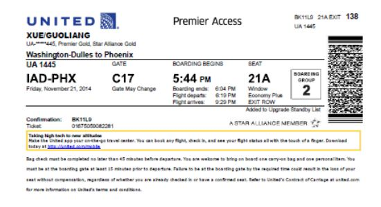 United Boarding Pass Template
