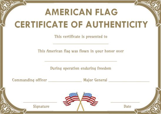 American flag certificate of authenticity template