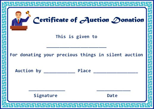 certificate of Auction donation