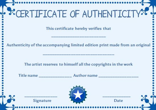 Certificate of authenticity limited edition prints template