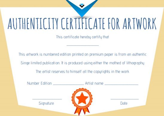 Certificate of authenticity template for artwork