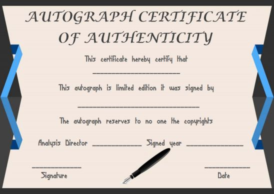 Certificate of authenticity template for autograph
