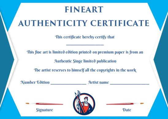 Certificate of authenticity template for fine art