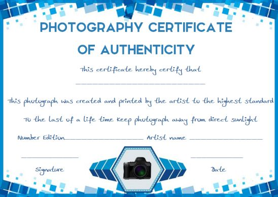 Certificate of authenticity template photography