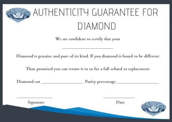 Diamond certificate of authenticity template