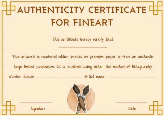 Fine art certificate of authenticity template free