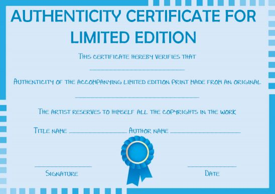 Limited edition certificate of authenticity template