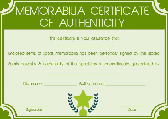 Memorabilia certificate of authenticity template