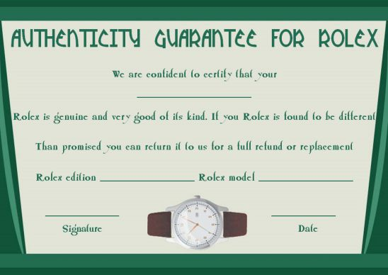 Rolex certificate of authenticity template