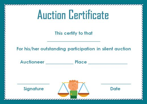 silent auction certificate