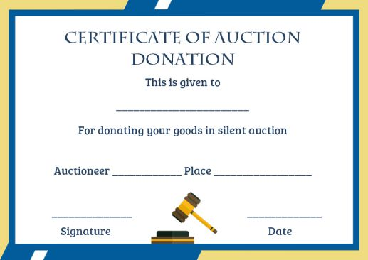 silent auction certificates template
