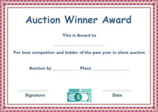 silent auction winner award