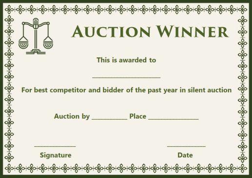 silent auction winner award certificate