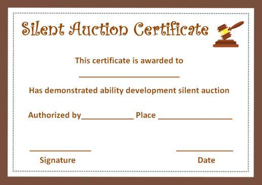 silent auction winner certificate template