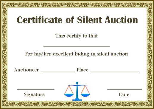 silent auction winner certificate templates