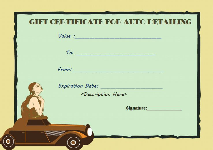 Auto detailing free gift certificate