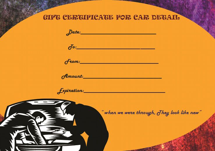 Car detail gift certificate template