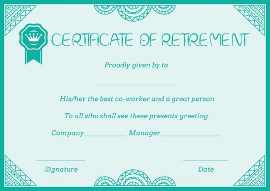 Civilian retirement certificate