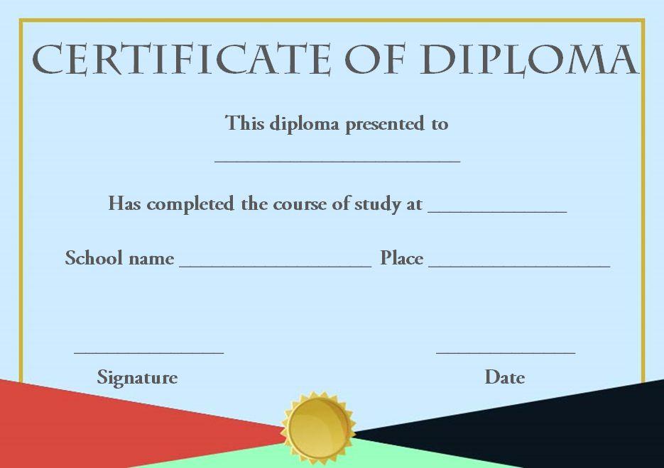 Diploma certificate sample