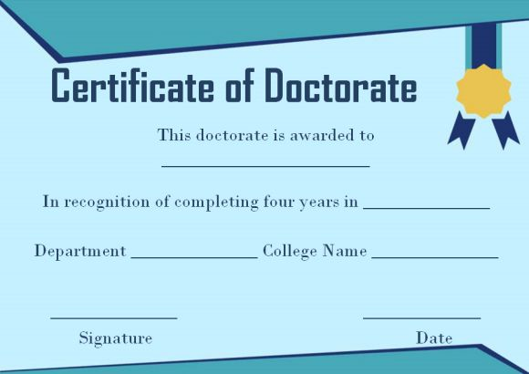 Doctorate certificate sample