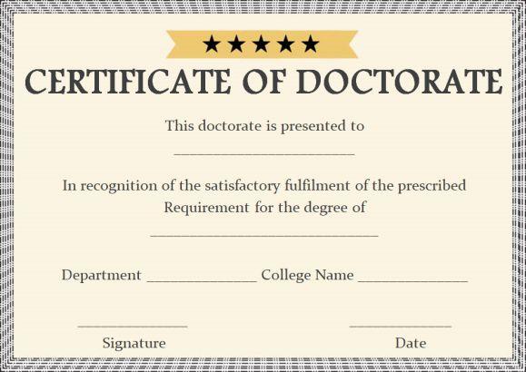 Doctorate certificate samples