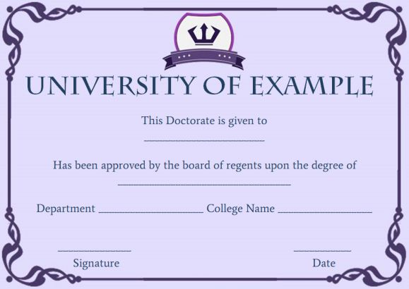 Doctorate degree certificate templates