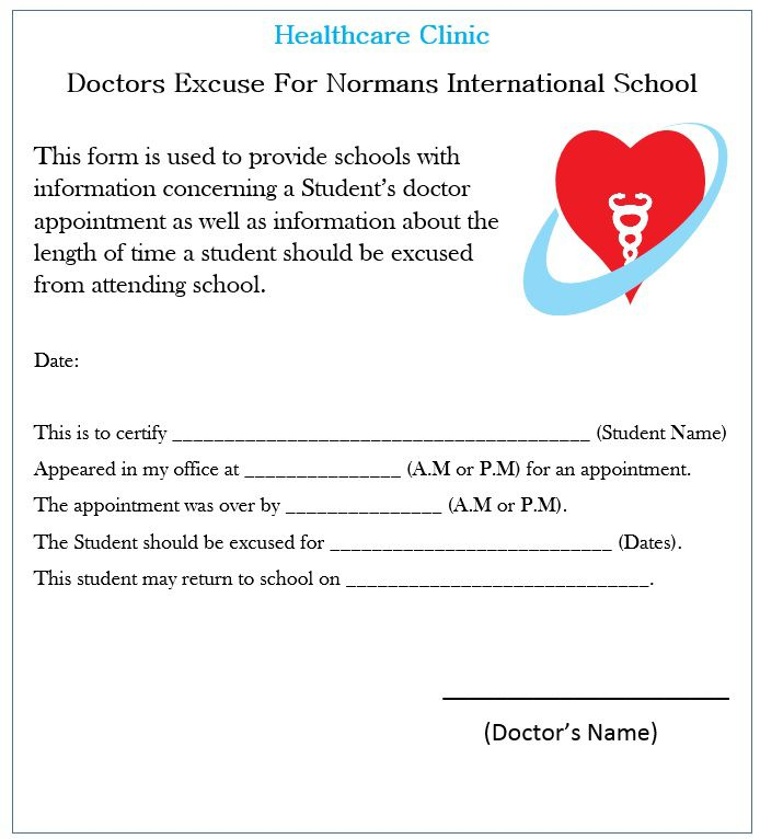 Doctors Excuse For School