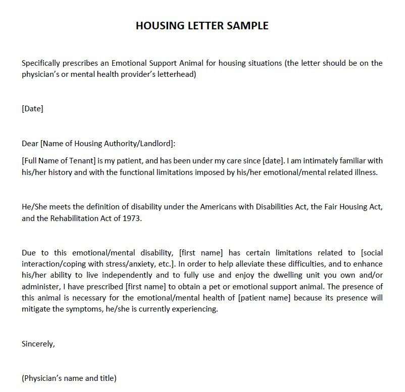 Emotional Support Animal Housing Letter