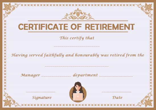 Employee retirement certificate template