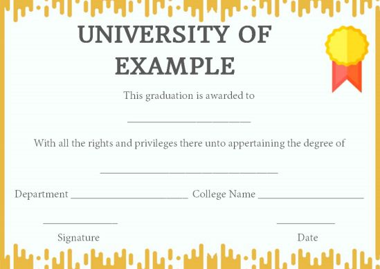 Fake graduation certificate template
