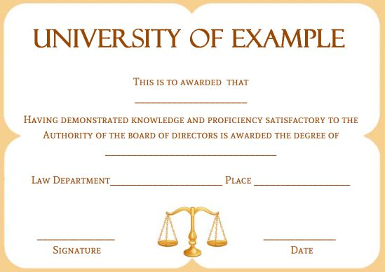 Fake law degree certificate templates