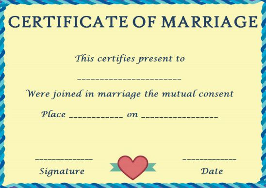 Fake marriage certificate template Online
