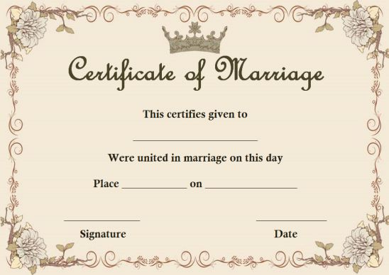 Fake marriage certificate template maker