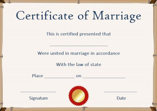Fake marriage license template