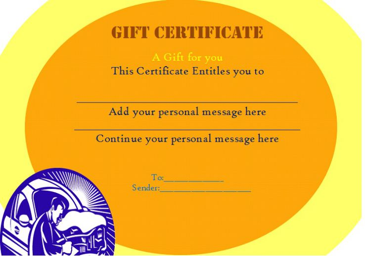 Free gift auto detailing certificate