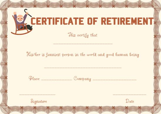 Funny retirement certificate template