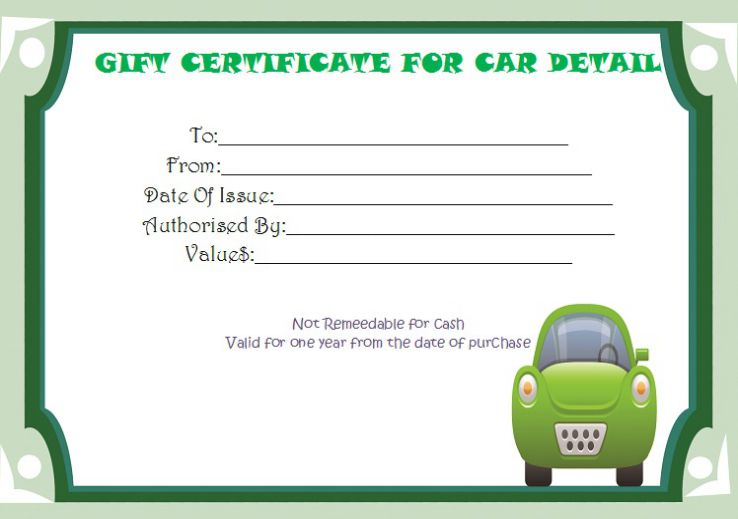 Gift certificate car detail template