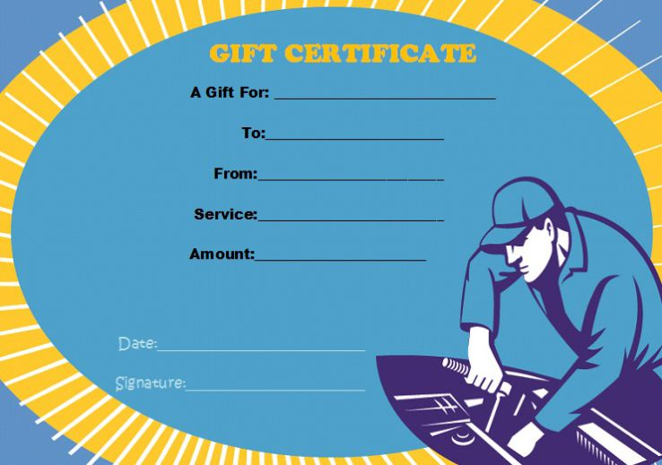 Gift certificate template auto detailing
