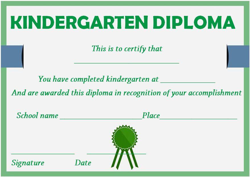 Graduation certificate template for kindergarten