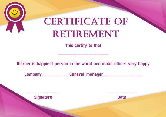 Happy retirement certificate