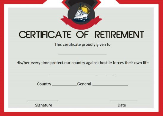 Navy retirement certificate appreciation