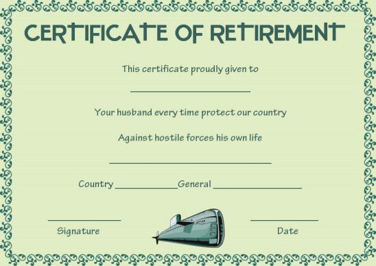 Navy spouse retirement certificate of appreciation