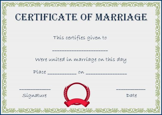 Realistic fake marriage certificate template
