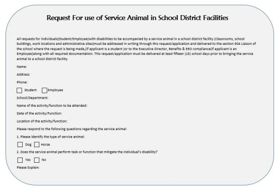 Request For use of Service Animal in School District Facilities