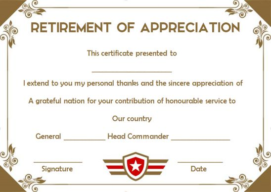 Retirement appreciation certificate