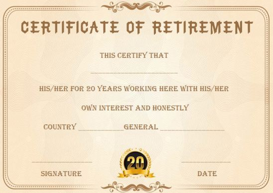 Retirement certificate after 20 years